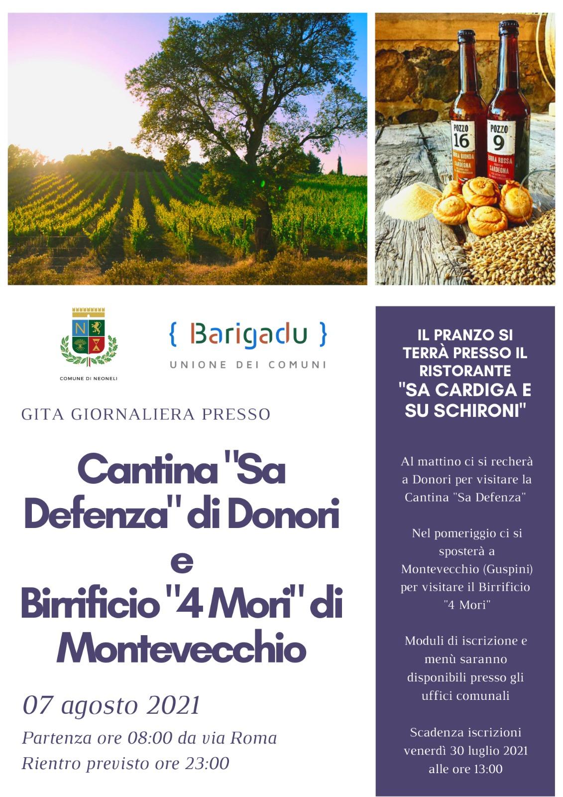 GITA GIORNALIERA PRESSO CANTINA 'Sa Defenza di Donori e Birrificio 4 mori di Montevecchio 07 agosto